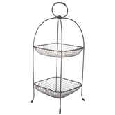Black Iron Two-Tiered Basket With Handle